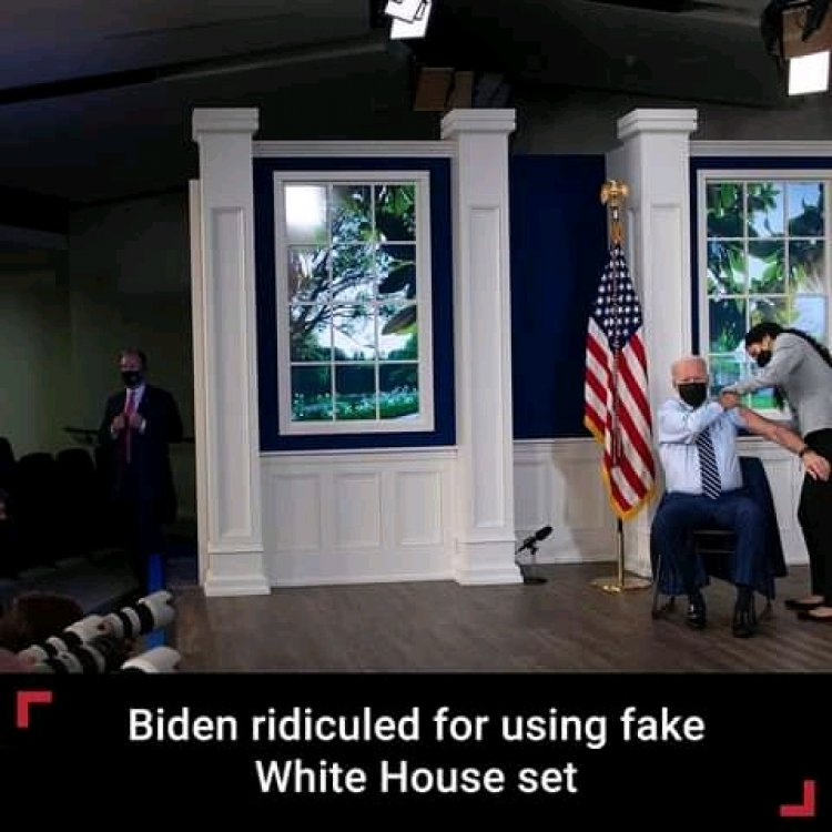 Joe Biden Criticized for using a fake white house set